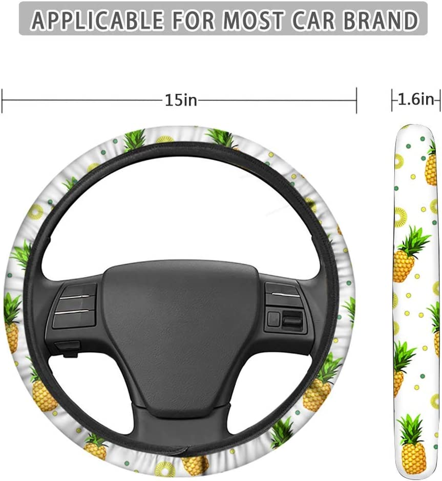 FKELYI Universal Auto Interior Accessories Set,Cartoon Sugar Skull Print Stretch-On Steering Wheel Cover with Gear Shift Knob Cover and Handbrake Cover