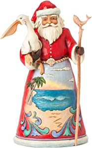 Jim Shore for Enesco Heartwood Creek Beach Santa with Pelican Figurine, 9.75-Inch