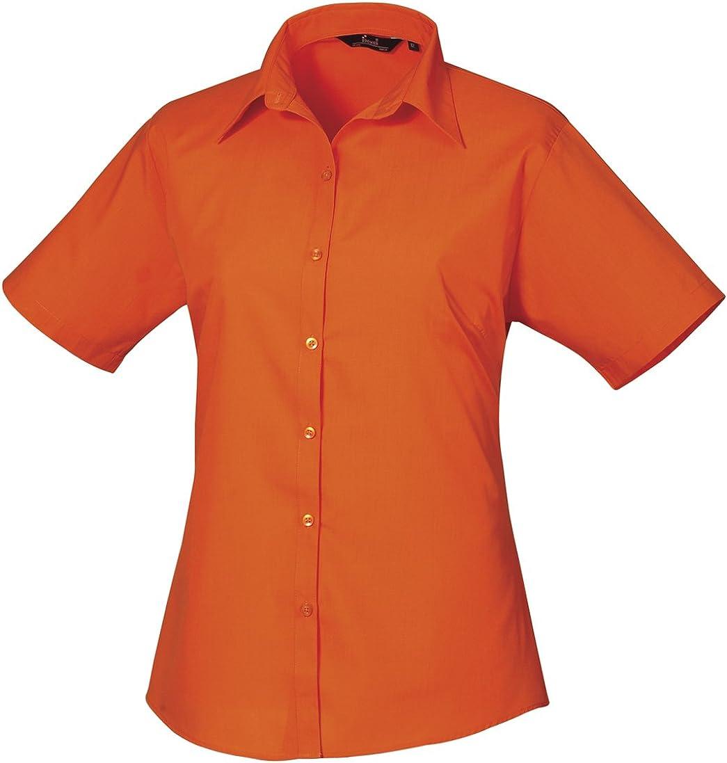 Premier Workwear Ladies Short Sleeve Poplin Blouse Camicia Donna