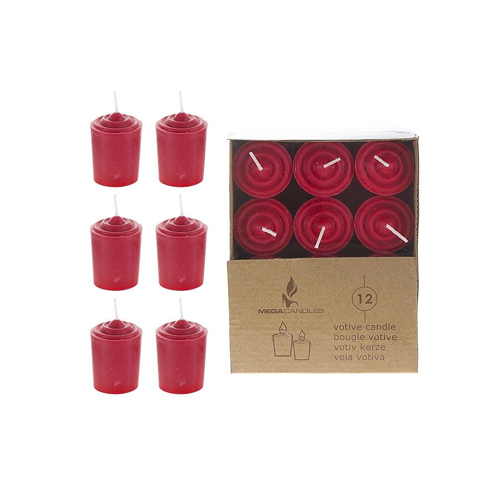 Set of 12 Red Unscented 15 Hours Votive Candles Mega Candles