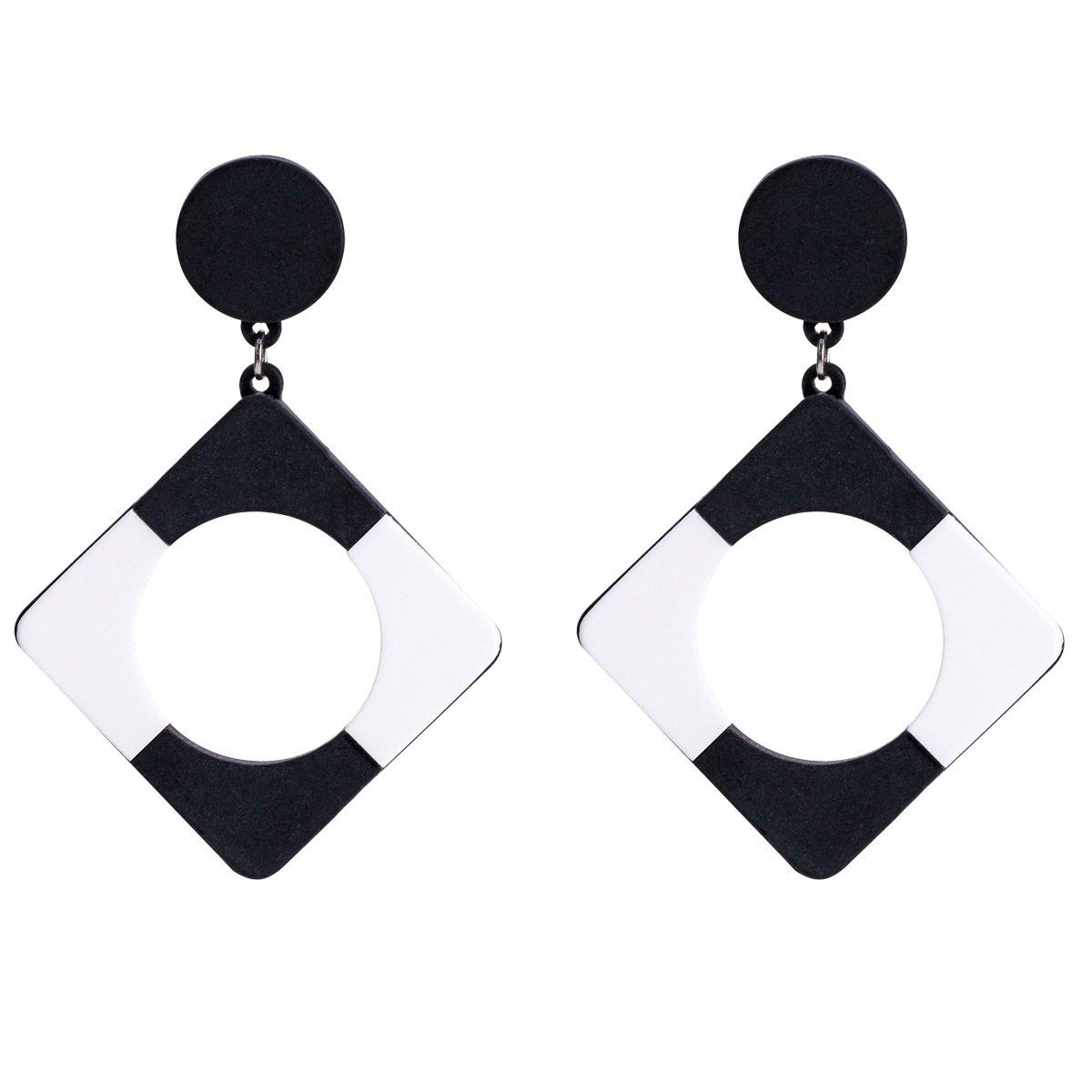 Upstudio Allergy Prevention Earrings Geometric Stud Earring Board Women Earrings Accessories(Black)