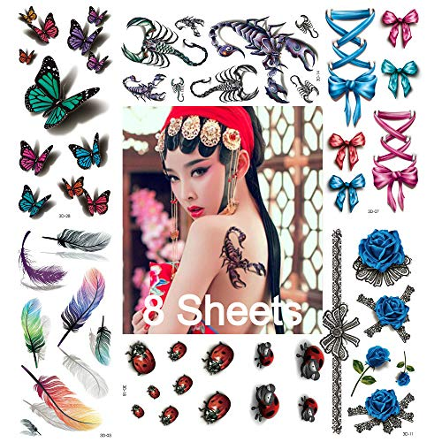 FIVE BEE 8 Sheets Mixed Style 3D Body Art Temporary Tattoos Paper- Scorpion, Ladybug, Butterflies, Feathers Legs Pink Ribbon Bow Fake and Multi-Colored Waterproof Tattoo for Women, Girls or Kids