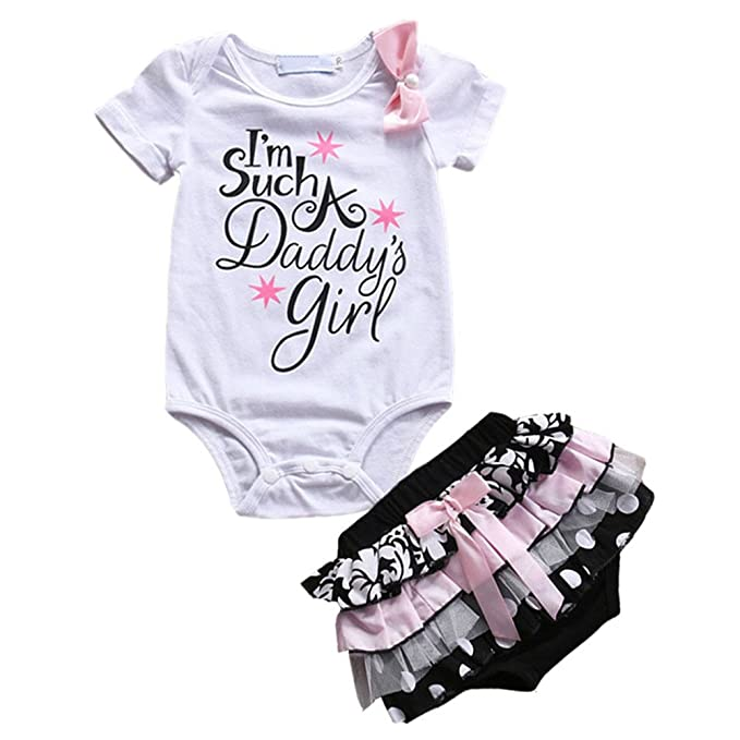 c7dd16320 i-Auto Time Newborn Baby Girl Clothes Daddy s Girl Bow Romper+ ...