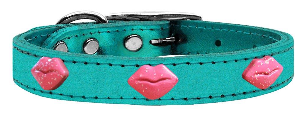 Mirage Pet Products Glitter Lips Widget Genuine Metallic Leather Dog Collar, Size 10, Turquoise Pink