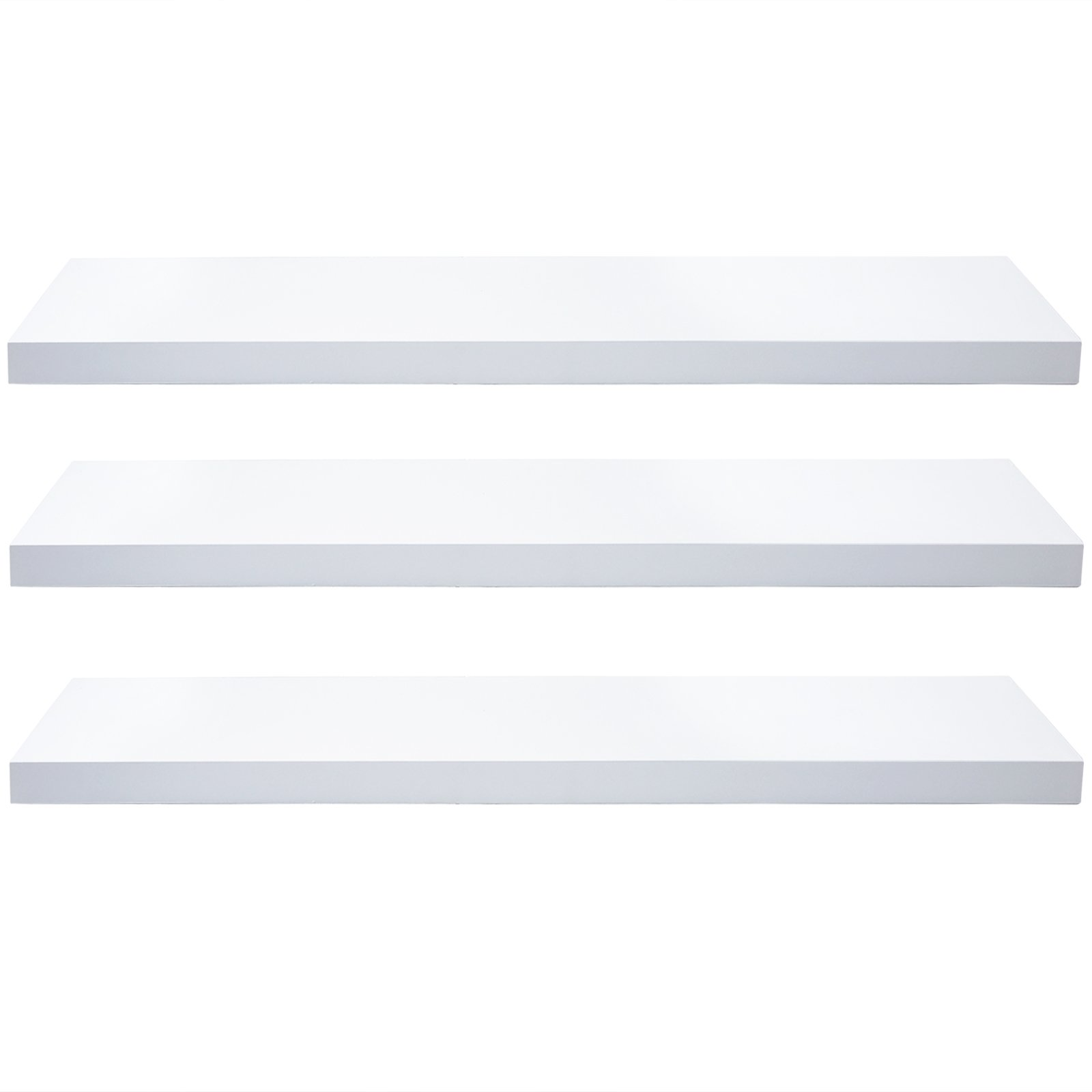 WOLTU Set of 3 Floating Wall Shelves MDF Wall Mount Wood Ledge Display and Organizer Rack with Hidden Brackets,39.37'' long, White, WS03whiS100-3
