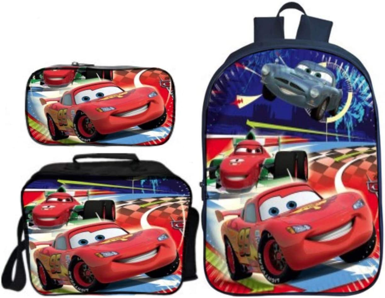 GD-Tshirts Cars Backpack 3 in 1 Backpack-Lightning McQueen Fans Backpack with Lungch Bag and Pencil Bag-Lightweight Unisex Rucksack