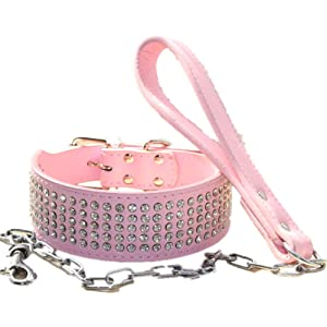 haoyueer 2 inches Wide Leather Rhinestone Crystal Diamante Jeweled Dog Collar Chain Leash