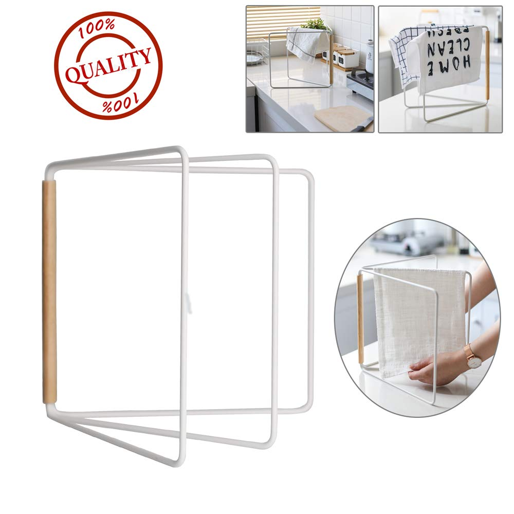 Countertop Hand Towel Holder for Kitchen, Foldable Rag Rack Dishcloth Drying Hanger, Save Space for Storage of Bathroom Towels, Kitchen Washcloths, Hand Towels, Bath Sheets by Wing