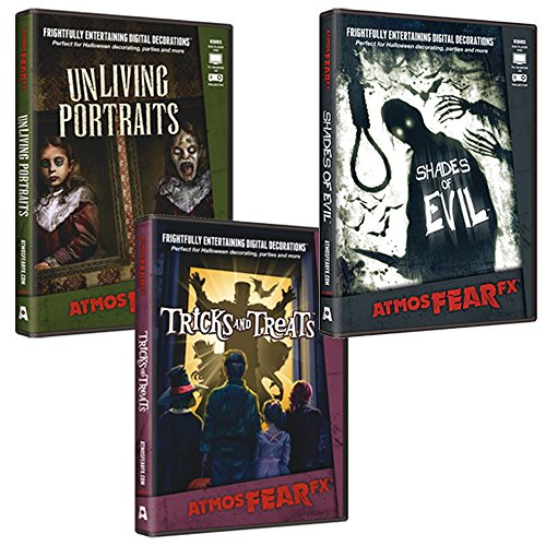 AtmosFearFX Shades of Evil, Tricks or Treats & Unliving Portraits DVD Combo Pack. Virtual Halloween Window Projection - Trio Lighting Wall