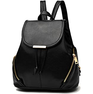 Aiseyi Cute Mini Leather Backpack Fashion Small Daypacks Purse for Women Black Backpack