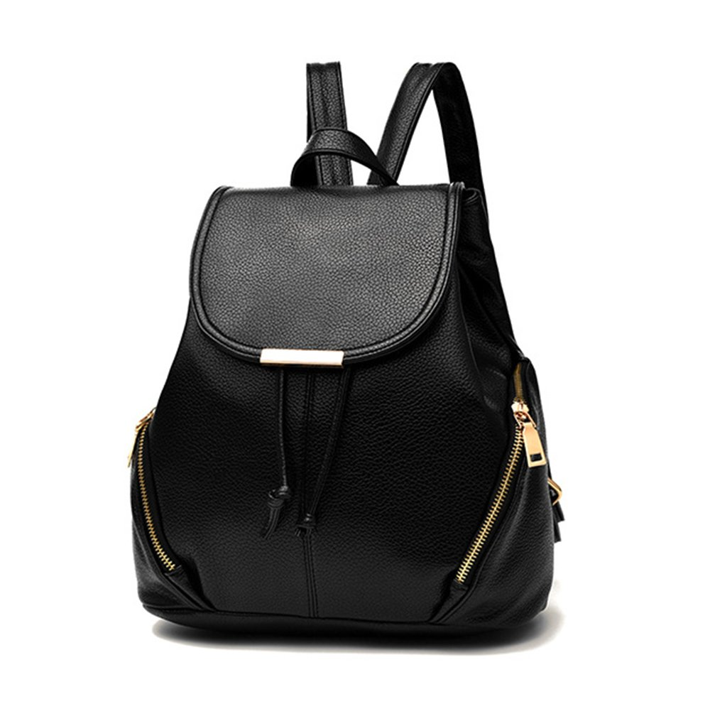 aiseyi Casual Fashion School Leather Backpack Shoulder Bag Mini Backpack for Women Girls Purse (Black)