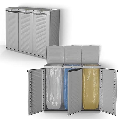Mülleimer Kunststoff Mülltonnenbox Mülltrenner Gelber Sack 3 Fach Schrank  Abfalleimer Gartenschrank Grau