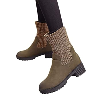 Viernes Negro JiaMeng Zapatos de tacón Cuadrado Martain Boot de Cuero Mantener cálidos Zapatos de Punta Redonda Impermeable Anti Deslizante Zapatos: ...