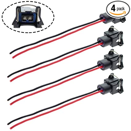 amazon com: motoall fuel injector connector ev1 obd1 plug wire harness  pigtail wiring loom clip 2-wire female for tpi lt1 ls1 ls6 rc tre - 4pcs:  automotive