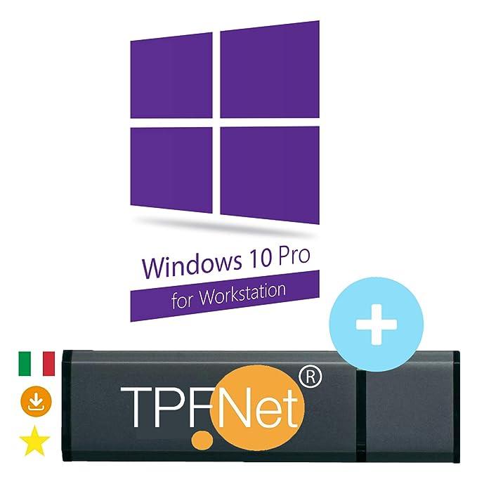 6b2eb822f0aa74 MS Windows 10 Pro Workstation 32 & 64 bit - Licenza Originale con Chiavetta  USB Avviabile