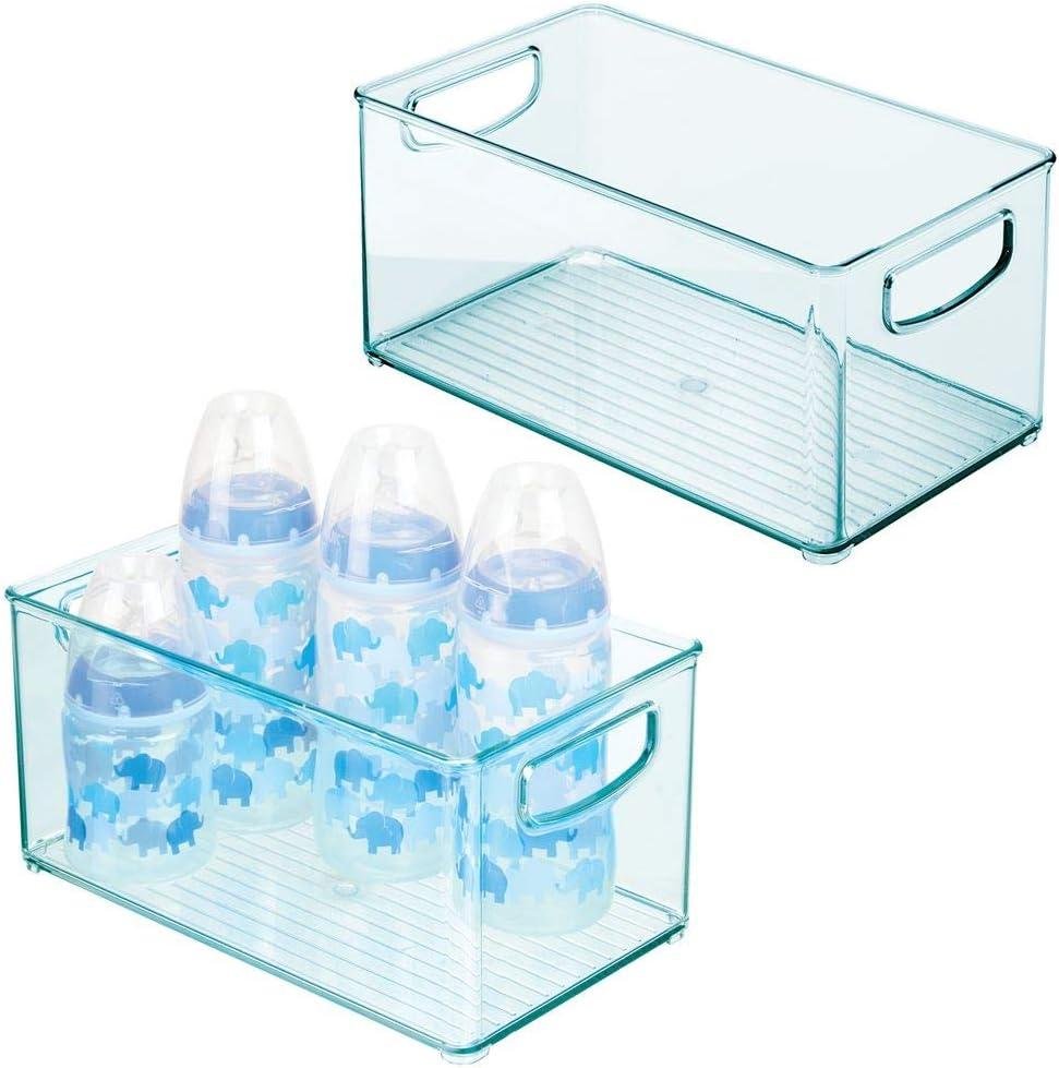 lot de 2 mDesign rangement pour chambre denfant bleu clair bac de rangement en plastique sans BPA avec un grand casier grand panier de rangement sans couvercle avec poign/ées pratiques
