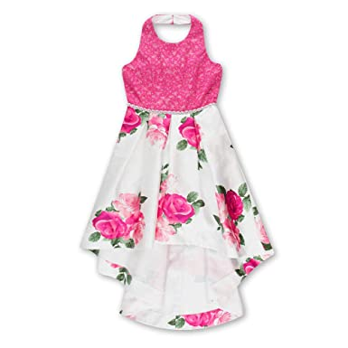 1a210a66568 Amazon.com  Speechless Girls  Big Party Dress with Lace Bodice and Printed  High-Low Skirt  Clothing