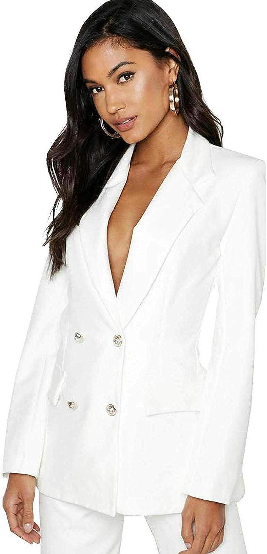 FLAVES FASHION Femmes Bouton Dor/é Fin Double Boutonnage Costume Blazer Veste Cascade Veste