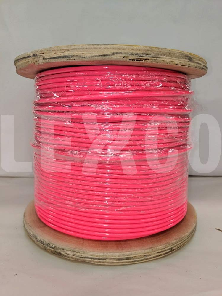 Lexco Cable 3327316CCPINK 250' Spool of 3/16'' Neon Pink PVC Coated 3/32'' 7x7 Galvanized Wire Rope by Lexco Cable
