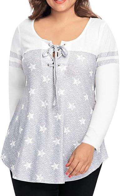 Levifun Camiseta Basica Mujer Casual Sudadera Manga Larga Primavera Cuello Redondo Estampado De Estrellas Blusa Fiesta Mujer Top Suelto Casual De Gran Tamaño Camisa Oficina Suelto: Amazon.es: Ropa y accesorios