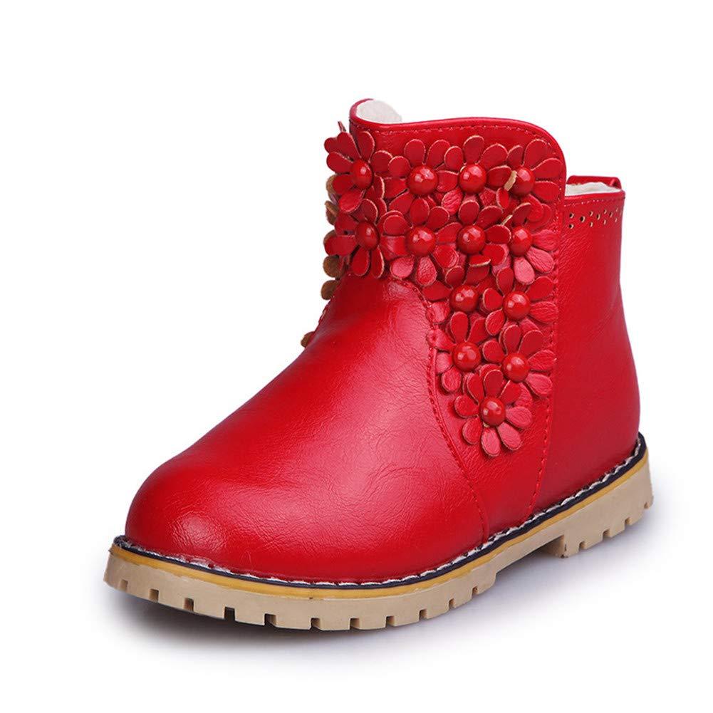 Niñas Botas de Nieve Cremallera Bota Color Sólido Flor Botines Antideslizante Zapatos Impermeable Bota de Invierno Zapatos Calientes