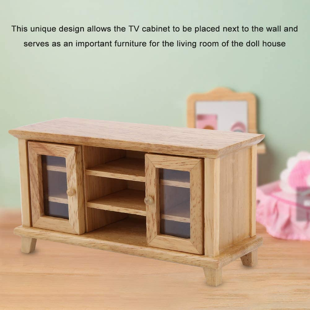 Wood Color 1:12 Doll House Scale Miniature Living Room Furniture Wooden TV Cabinet for Kids Children Play Toy Gift Dollhouse Cabinet