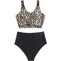 ZAFUL Traje de baño de dos piezas para mujer, estampado de leopardo animal, anudado, talle alto, tankini