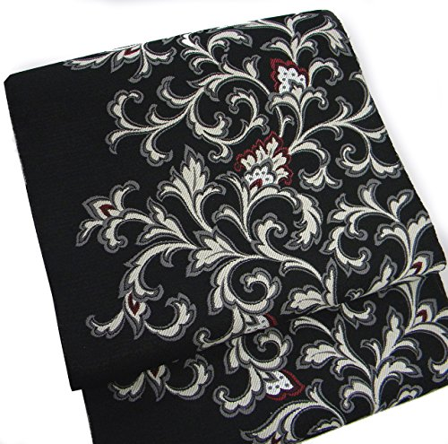 真剣にロバアピール西陣織八寸 黒地(芯?仕立つき) 花更紗 正絹名古屋帯