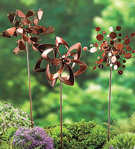 Plow hearth set of 3 metal pinwheel decorative garden for Decorative garden stakes