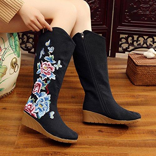 estilo el Beijing la cremallera tela son viejo botas pendiente y invierno lateral algodón aumenta botas sigue de el altas zapatos hembra el viento bordado botas de la Black En interior GTVERNH el F0I1wpqTn