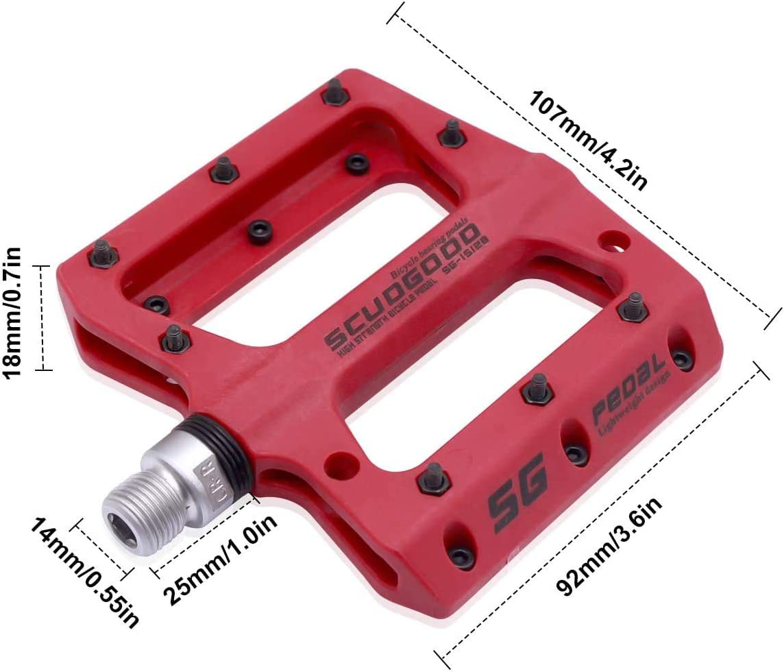 HQdeal Bike Pedals New Nylon Fabric Anti Slip Durable Mountain Bike Flat Pedals Ultralight MTB BMX Bicycle Cycling Road Bike Hybrid Pedals for 9//16 inch