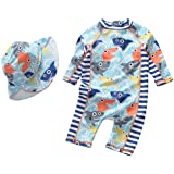 DNggAND Baby Boys Swimsuit One Piece Toddlers Zipper Bathing Suit Swimwear with Hat Rash Guard Surfing Suit UPF 50+