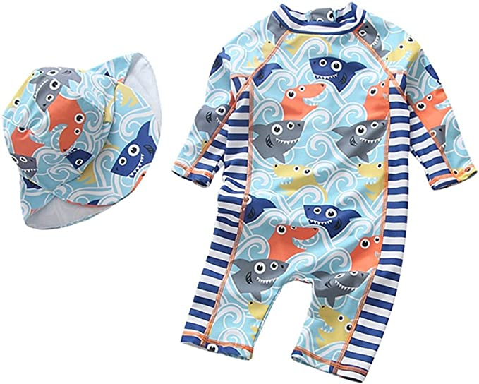 1-6t Baby Boys Two Pieces Swimsuit Toddler Kid Rash Guard Sun Protective Zip Bathing Suit with Hat UPF 50