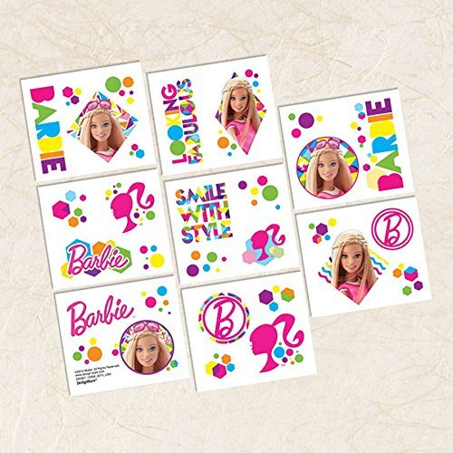Barbie Sparkle Temporary Tattoo Birthday Favour and Prize Giveaway (16 Pack), Multi Color, 2
