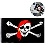 Pirate Flag Skull and Crossbones Flags Pirate Jolly Roger Skull Flag,Bike Car Bar Decor Outdoor/Indoor Flags for Pirate Party Halloween Decoration Birthday Festival (3x5 ft)