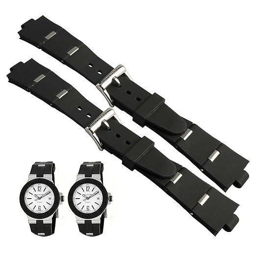 youbetter negro de goma de repuesto reloj banda correa para Bvlgari bvlg diagono 22 mm x 8 mm: Amazon.es: Relojes
