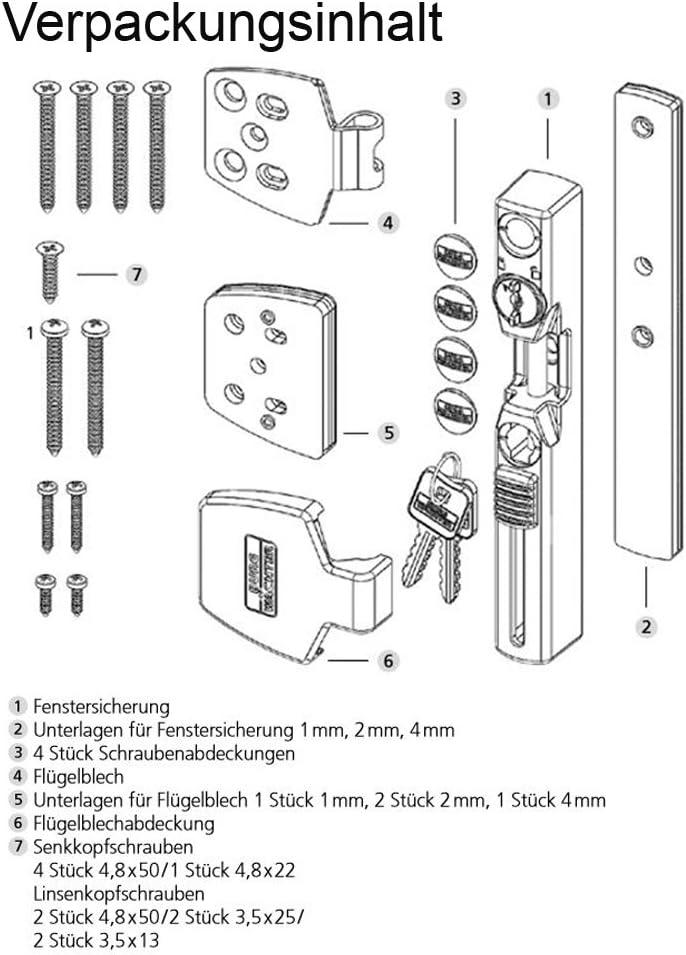 Braun BURG-W/ÄCHTER Winsafe WS 33 BR SB Fenstersicherung 184 x 74 x 37 mm 1 St/ück