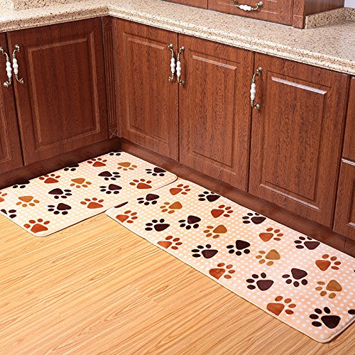 Ustide 2 Piece Dog Foot Print Kitchen Rug Set Cute Memory