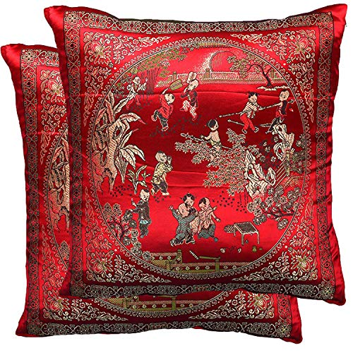 Yootop Pair Courtyard Scene Embroidered Pillowcase Silky Decorative Chinese Oriental Cushion Cover for Sofa Throw Pillow Case ()