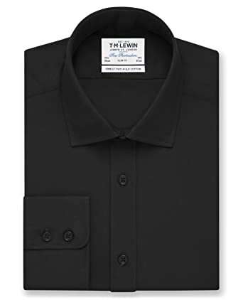 e0993be69 T.M.Lewin Men's Black Poplin Slim Fit Button Cuff Shirt: Amazon.co.uk:  Clothing