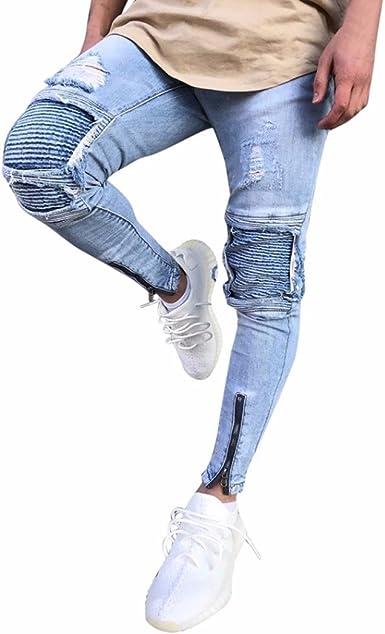 Kolylong® Jeans Hose Herren Vintage Destroyed Jeans Hose Slim Fit Strech Denim Hosen Männer Hosen mit löchern Skinny Hiphop Streetwear Pants