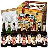 Ostpaket 'Männer Bier' mit 9 Flaschen Bier INKL. Etiketten mit erotischen Motiven und Glückwunschkarte 'Alles Gute' ++ Köstritzer Schwarzbier, Wernesgrüner Pils, Lübzer Pils, Feldschlößchen Pils, uvm. ++ bekannte ostdeutsche Biermarken zum Probieren