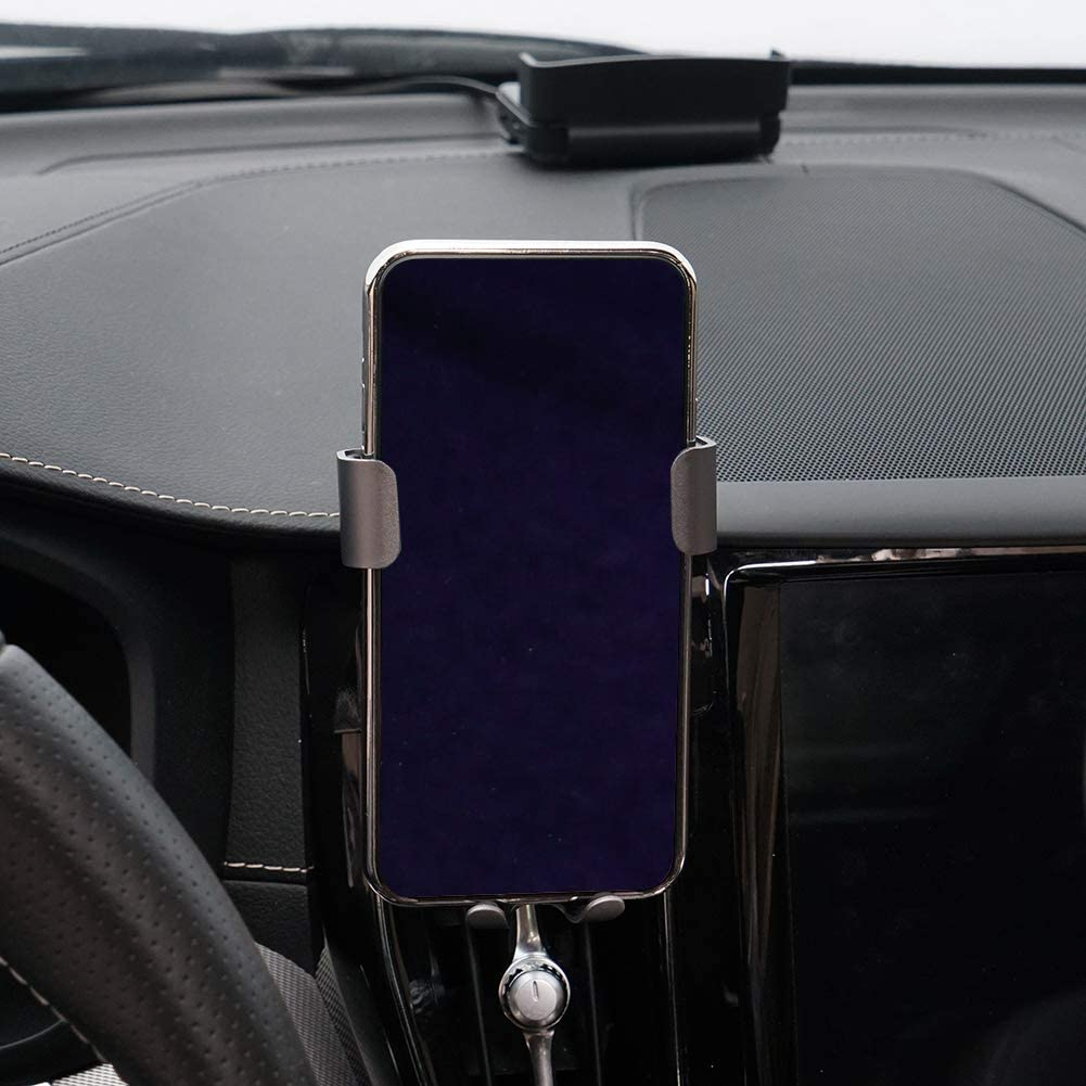 Phone Holder for Volvo XC60 Dashboard Air Vent Adjustable Cell Phone Holder for Volvo XC60 2019 2018 2017,Phone Mount for iPhone 8 iPhone X,Wireless Charging Smartphone 5.5~6 in