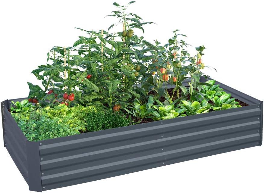 Galvanized Steel Raised Garden Bed Kit Extra Height Elevated Planter Box Steel Large Vegetable Flower Bed Kit (3 x 6 x 1 Ft, Dark Grey)