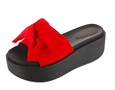 2a3f08841 Image Unavailable. Image not available for. Color  Slippers Big Bowtie  Woman Beach Flip Flops Summer Sandals Slip- Resistant Slippers Platform  Sandals Size