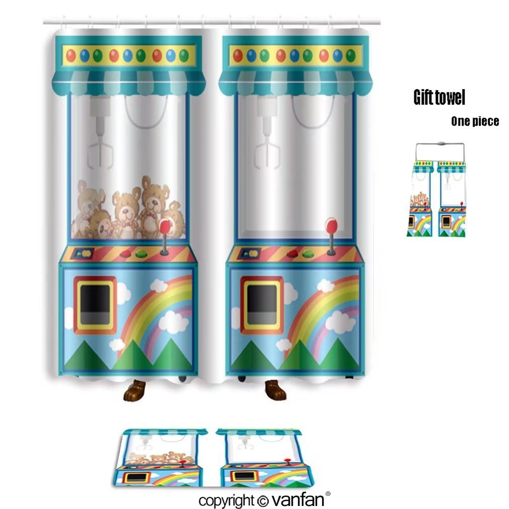 vanfan bath sets Polyester rugs shower curtain Arcade game machine dolls Illustration shower curtains sets bathroom 36 x 72 inches&23.6 x 15.7 inches(Free 1 towel 12 hooks)