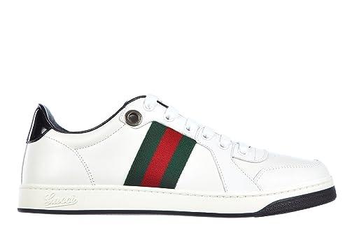 Gucci Zapatos Zapatillas de Deporte Hombres en Piel New Praga Blanco EU 40.5 283115 APD90 9072