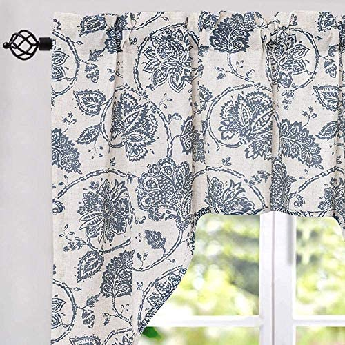 jinchan Swag Valance Blue Window Curtain Linen Print Scroll Jacobean Floral Paisley Medallion Rustic Style Wide 60 x Long 38