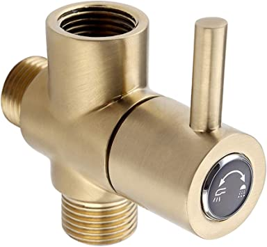 Solid Brass Gold Dual Showerhead Diverter Valve