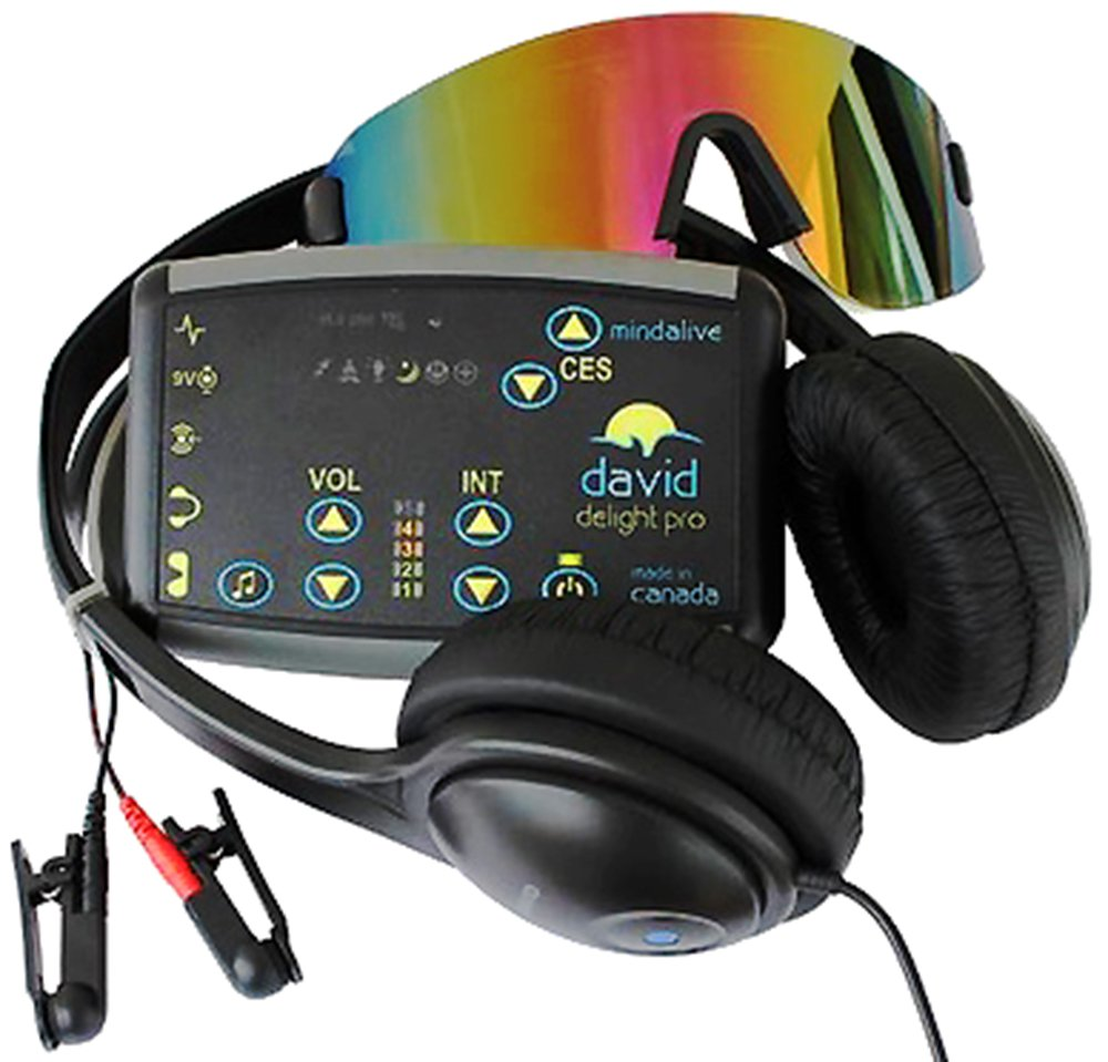 DAVID Delight Pro with Multi-Color Eyeset Best device for Brain Training, Meditation, Relaxation, Sleep, Mood, Mental Clarity. Increased Academic and Sports Performance